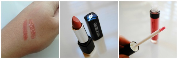MAKE UP FOR EVER - Rouge Artist Natural lipstick in N4; a Lab Shine lip gloss in D14